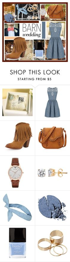 """""""Best Dressed Guest: Barn Weddings"""" by alejandraf101 ❤ liked on Polyvore featuring Reception, Pottery Barn, Mustard Seed, Oasis, Frye, Emporio Armani, Topshop, Stila, Butter London and Call it SPRING"""