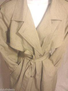J.Gallery Trench Coat, Size 8 Petite, Beige  F