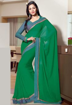 #Green Faux Georgette #Saree with Blouse Online Shopping: SKK15387