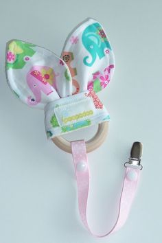 Natural wooden teething ring with matching clip by Poopadoo, $16.00