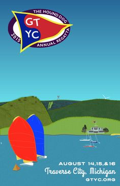 2015 Hound Dog Regatta poster, Grand Traverse Yacht Club, Traverse City, Michigan