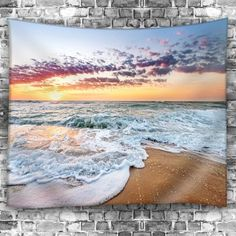 Beach Sunrise Waterproof Wall Tapestry - COLORFUL W79 INCH * L59 INCH