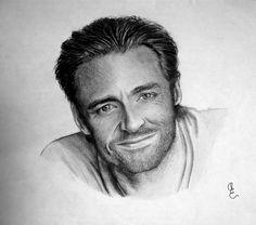 Hugh Jackman Draw -  Técnica: Lápiz de grafito HB, 2B y 6B
