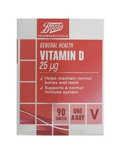 #Boots Pharmaceuticals Boots Vitamin D 25g (90 Tablets) 10114771 #16 Advantage card points. Boots Vitamin D 25g helps maintain normal bones and teeth. Always read the product information before use. FREE Delivery on orders over 45 GBP. (Barcode EAN=5045097641755)