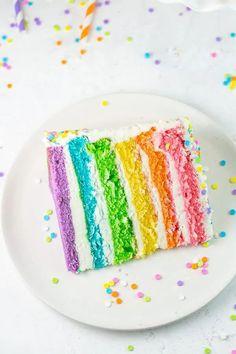 Rainbow Layer Cake Recipe | Bunsen Burner Bakery Layer Cake Recipes, Homemade Cake Recipes, Yummy Recipes, Rainbow Layer Cakes, Bunsen Burner, Cake Design Inspiration, Rhubarb Cake, 2 Birthday Cake