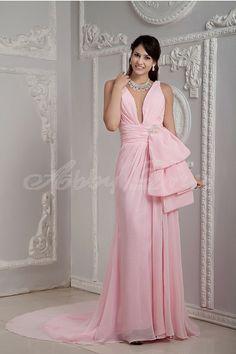 Romantic, Elegant V-neck Evening Dresses Formal Evening Pink