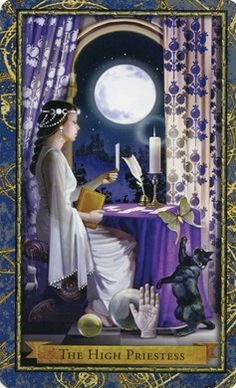 II - High Priestess from the Wizards Tarot. Guardian of the mysteries. Memory. Knowingness, Wisdom, Common sense, intuition, mystical vision – introspection – otherworldliness.