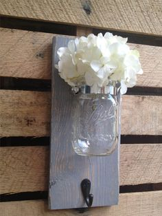 Mason Jar Wall Decor with HookYOU PICK by LacyBellesBoutique, $20.00