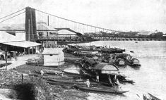 The Puente Colgante, originally called Puente de Claveria, was a suspension bridge that connected the Manila districts of Quiapo and Ermita across the Pasig River in the Philippines. Designed by the Basque engineer Matias Menchacatorre and completed in 1852, it was the first suspension bridge in Southeast Asia. The bridge was replaced by Quezon Bridge in the 1930s.