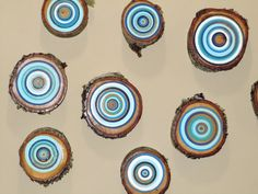 12 Painted Tree Rings Beach House Decor Tree by NestsAndBurrows, $96.00