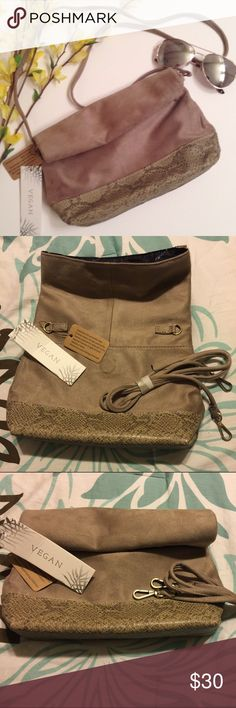 New! Free people clutch/crossbody Beautiful vegan faux suede snakeskin crossbody with detachable straps to wear as a clutch. Taupe tan color. Free People Bags Crossbody Bags
