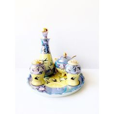 Ceramic Blue Yellow Lusterware With Bluebirds Vintage Condiment Set... (€28) ❤ liked on Polyvore featuring home, kitchen & dining and serveware
