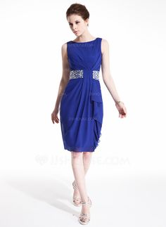 Sheath/Column Scoop Neck Knee-Length Chiffon Cocktail Dress With Beading Cascading Ruffles (016021214) - JJsHouse