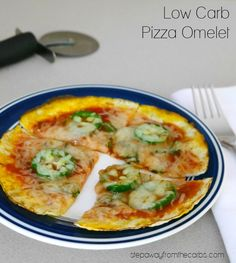 Low Carb Pizza Omelet - this is the perfect quick lunch! Only four ingredients plus toppings.