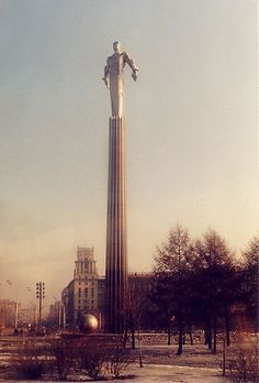 "Monument to Yuri Gagarin. ""The monument to Yuri Gagarin stands in Gagarin Square, Moscow. He is made of titanium and stands 44 m high, catching the sun in a spectacular way."" By niecieden on Flickr"