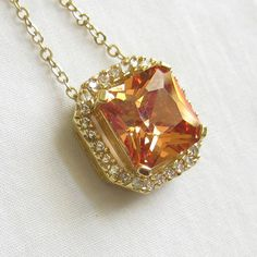 Vintage Deep Citrine Square Cut Glass and Clear Rhinestones Pendant Necklace by MyVintageJewels, $30.00