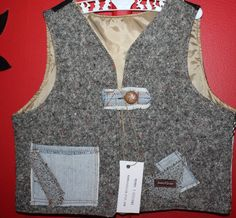 boys size 1,  boho, hippie, retro, unique, vest, vintage, wool, wedding, christening, party, upstyled, recycled, funky, all seasons by mamma5design on Etsy