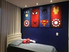 10 Adesivos Super Heróis - Frete Grátis no Kids Bedroom Designs, Boys Bedroom Decor, Kids Room Design, Boy Bedrooms, Boys Superhero Bedroom, Marvel Bedroom, Marvel Nursery, Superhero Room Decor, Avengers Room