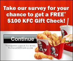 Free $100 KFC Gift Card