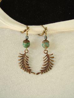 Boho Earrings Southwest Earrings Nature Forest Fern by BohoStyleMe
