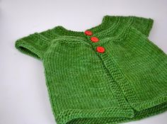 In Threes. Knitted in Malabrigo Worsted Verde Adriana. http://www.ravelry.com/patterns/library/in-threes-a-baby-cardigan