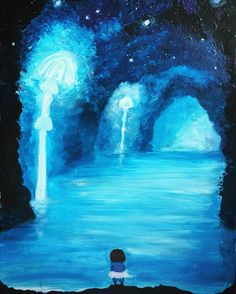 Why not spend your free morning painting some Undertale related sceneries? I tested my glowing paint on this one, we'll see if it glows in the dark:) #acrylic #undertale #fanart #painting #blue#waterfall #wishingroom #illustration #instadraw #artistoninstagram #instaart #frisk #drawing #1page1day #art #рисунок #dailydrawing#videogames #paint #canvas #canvasart