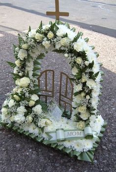 gates of heaven flowers Funeral Floral Arrangements, Sunflower Arrangements, Church Flowers, Funeral Flowers, Floral Bouquets, Floral Wreath, Funeral Sprays, Purple Calla Lilies, Cemetery Decorations
