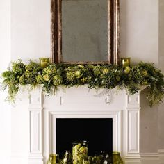 Reference inside of Fireplace painted black with a white painted mantel. Christmas Fireplace, Christmas Mantels, Fireplace Mantle, Living Room With Fireplace, Living Room Decor, Fireplace Decorations, Wedding Decorations, Christmas Decorations, Christmas Ideas