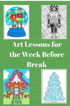Here are some easy and fun Christmas art lessons for that week before winter break. These keep students engaged.