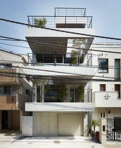 Modernes Haus Rechteckiger-Grundriss ryo matsui-architects balcony-house