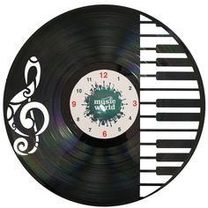Ceas handmade din disc de vinil - PIANO MUSIC