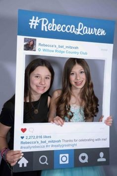 A fun photo booth idea for a Bat Mitzvah! Use a prop that makes it look like they're already on Instagram. Read more about this celebration at MitzvahMarket.com.