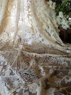 "Incredible ANTIQUE French Normandy Lace Piece Tablecloth Coverlet Curtain 93x49""  Vintageblessings"