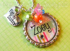 Personalized Girl's Pink Big Sister Little Sister Bottle Cap Necklace  via Etsy.