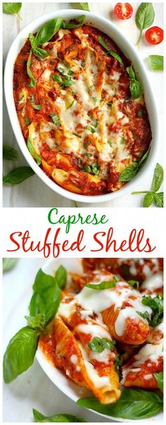 Such an impressive dinner! Caprese Stuffed Shells are loaded with tangy tomato sauce, mozzarella cheese, and fresh basil! YUM.