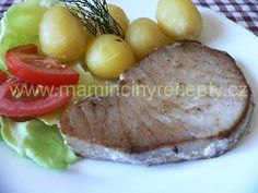 Steak z tuňáka Baked Potato, Steak, Potatoes, Baking, Ethnic Recipes, Food, Potato, Bakken, Meals