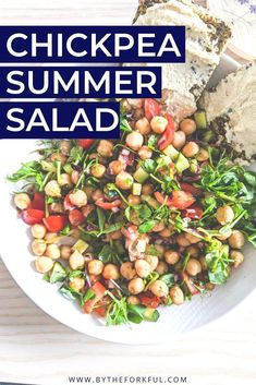 Quick, easy, Vegan Chickpea Summer Salad.  Packed full of seasonal vegetables and protein.  Delicious on its own or as a side dish.