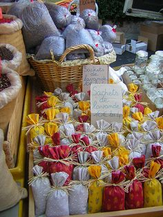Lavender sachets, in the market in the small town of Apt.     Slip a sachet between your sheets in your linen closet, in your drawers, and hang a pretty sachet on a hanger in your closet. So fragrant and soothing!
