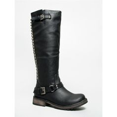 TROOPER-14 Boot ($35) ❤ liked on Polyvore featuring shoes, boots, black, black boots, black moto boots, chunky boots, tall boots and black motorcycle boots