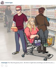 Clint, Thor and Bruce in the supermarket xD