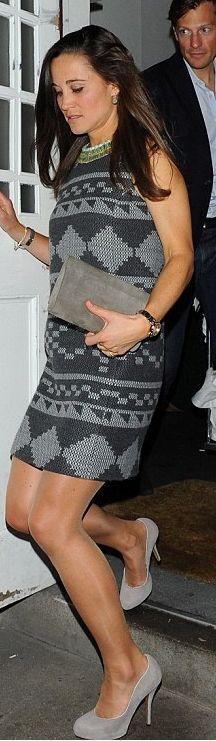 Pippa Middleton: Dress – Matthew williamson  Shoes – Kate Spade  Watch – Project D London  Bracelet – Hermes