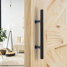 Sliding Barn Door Pull Handle Round Stainless Steel Cabinet Drawer Door Handle, Black