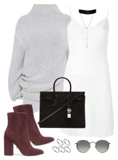 """Untitled #882"" by jennifer1297 ❤ liked on Polyvore featuring STELLA McCARTNEY, Givenchy, Yves Saint Laurent, Gianvito Rossi, Ray-Ban, ASOS, suede, slipdress and fallwinter16"