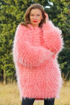 46d6d4e527 Pink hand knitted sexy soft   fuzzy mohair long sweater dress by  SuperTanya®. Here you will findhand knitted mohair turtleneck