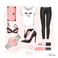 """More illustrations LINE BOTWIN """"girly illustrations """" #chic #fashion #girly…"""