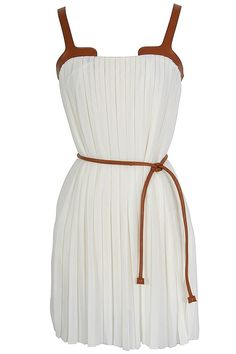 Leatherette Trim Pleated Chiffon Dress