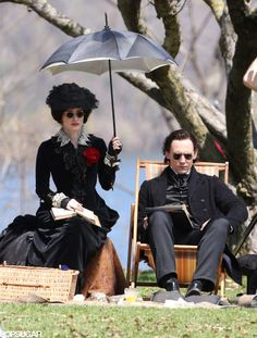 Tom Hiddleston and Jessica Chastain filming Crimson Peak. This is a fab picture.