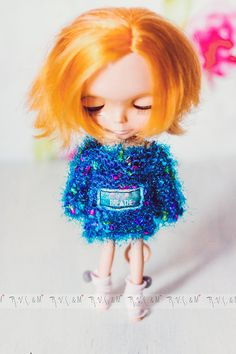 """Blue jumper for Blythe """"Breathe"""" by RVSandM on Etsy Jumper, Sweater, Breathe, Colours, How To Wear, Handmade, Blue, Stuff To Buy, Etsy"""