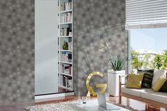 """""""Avenzio delights the young and the young at heart with its natural, fresh, youthful and modern outfits for walls. Fresco, Wallpaper Collection, Black And White Wallpaper, Centella, Bookcase, Creations, Metallic, Shelves, Living Room"""