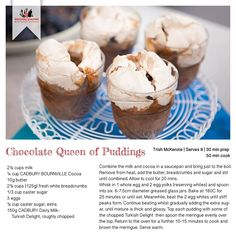 Recipe for Chocolate Queen of Puddings Queen Of Puddings, Bread Crumbs, Recipe Cards, Cobbler, Chocolate Recipes, Gourmet Recipes, Cocoa, Cheesecake, Meals